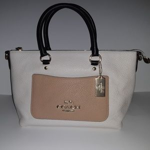 Coach Mini Emma Peble Leather Crossbody Satchel